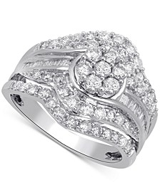 Diamond Multi-Row Cluster Ring (1-1/2 ct. t.w.) in 10k White Gold