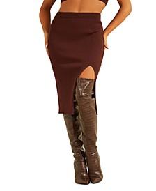 Kalani Thigh Slit Sweater Midi Skirt
