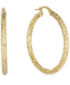 Medium Snake Texture Hoop Earrings in 10k Gold