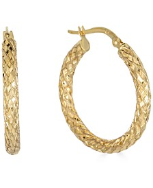 Small Snake Texture Hoop Earrings in 10k Gold
