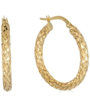 Small Snake Texture Hoop Earrings in 10k Gold