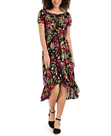 Petite Floral-Print High-Low Dress, Created for Macy's