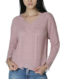 Juniors' Destructed Cable-Detailed Sweater