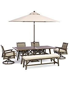 """Kathan Outdoor Aluminum 6-Pc Dining Set (84"""" x 42 Rectangle Dining Table, 2  Dining Chairs, 2 Swivel Chairs, 1 Bench) with Sunbrella® Fabric, Created for Macy's"""