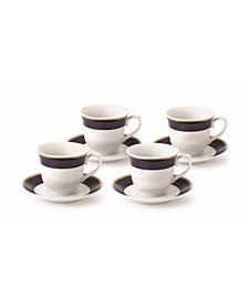8 Piece 8oz Tea or Coffee Cup and Saucer Set, Service for 4