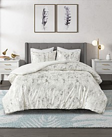 Pearl Metallic Printed Velvet Comforter Set, 3 Piece