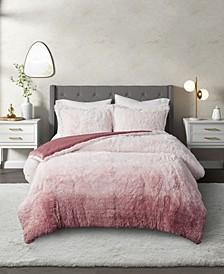 Cleo Ombre Shaggy Fur Comforter Set, 3 Piece