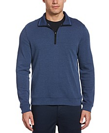 The Icon Men's Quarter-Zip Long Sleeve Mock Neck Logo Shirt
