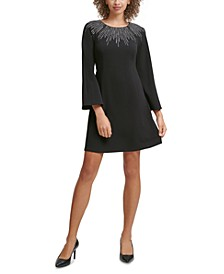 Petite Embellished-Neck A-Line Dress