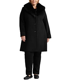 Plus Size Faux-Fur-Collar Coat, Created for Macy's