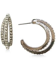 "INC Silver-Tone Small Pavè Triple-Row C-Hoop Earrings, 1.01"", Created for Macy's"