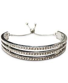 INC Silver-Tone Pavé Triple-Row Slider Bracelet, Created for Macy's