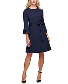 Belted Fluted-Sleeve Dress