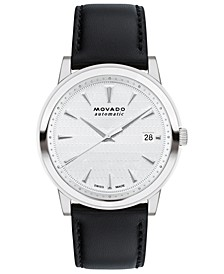 Men's Swiss Automatic Heritage Black Leather Strap Watch 40mm