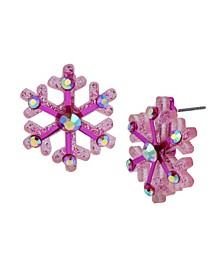 Festive Snowflake Button Earrings