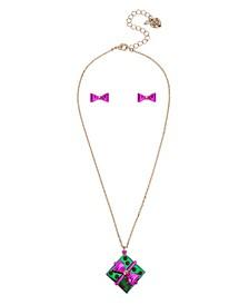 "Present Pendant Necklace Stud Earrings Set, 16"" + 3"" extender"