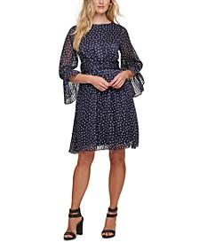 Lurex-Stripe Dot-Print Fit & Flare Dress