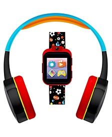 Kid's Playzoom Black Sports Print Tpu Strap Smart Watch with Headphones Set 41mm