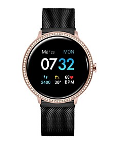 Women's Sport's Crystal Encrusted Black Stainless Steel Mesh Strap Smart Watch 43.2mm