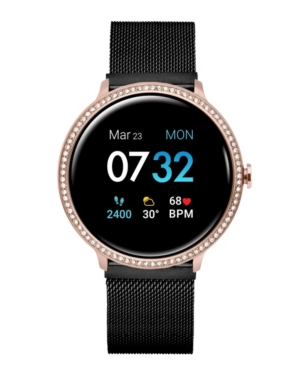 Sport 3 Women's Special Edition Touchscreen Smartwatch: Rose Gold Crystal Case with Black Mesh Strap 45mm