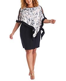 Plus Size Printed-Poncho Dress