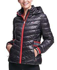 Striped-Trim Puffer Jacket