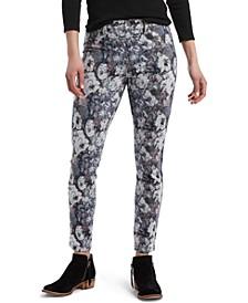 Floral-Print Denim-Look Leggings