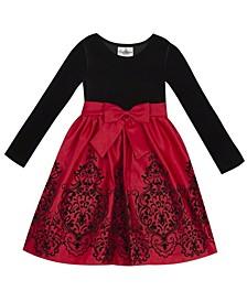 Little Girl Velvet Bodice To Flocked Satin Skirt