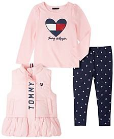 Little Girls 3 Piece Nylon Vest with Long Sleeve Tee and Print Legging Set
