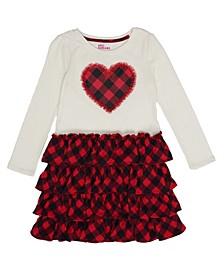 Toddler Girls Long Sleeve Ruffled Checkered Print Bottom Dress