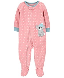 Toddler Girl 1-Piece Koala Fleece Footie PJs