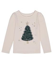 Little Girls Long Sleeve Christmas Tree Graphic Tee