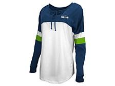 Seattle Seahawks Women's Lace Up Long Sleeve T-Shirt