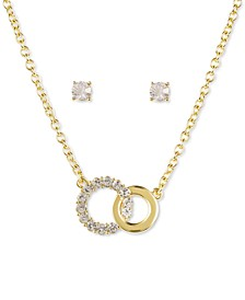 Gold-Tone Crystal Linked Circle Pendant Necklace & Stud Earrings Set, Created for Macy's