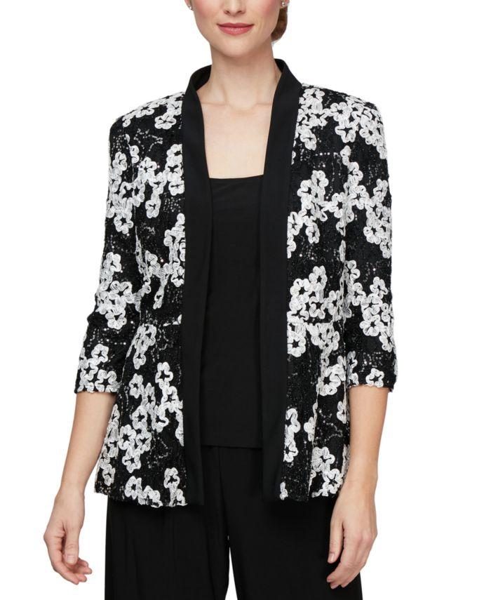 Alex Evenings Sequinned Soutache Jacket & Top Set  & Reviews - Tops - Women - Macy's