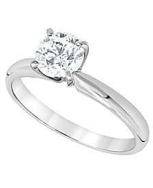 Certified Diamond (1 ct. t.w.) Solitaire Plus Ring in 14K White Gold