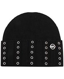 Grommet-Trim Cuffed Beanie Hat