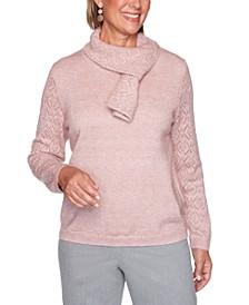 Petite St. Moritz Pointelle Scarf Sweater