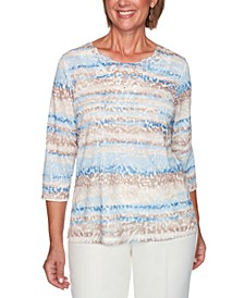 Petite Dover Cliffs Animal-Print Biadere Top