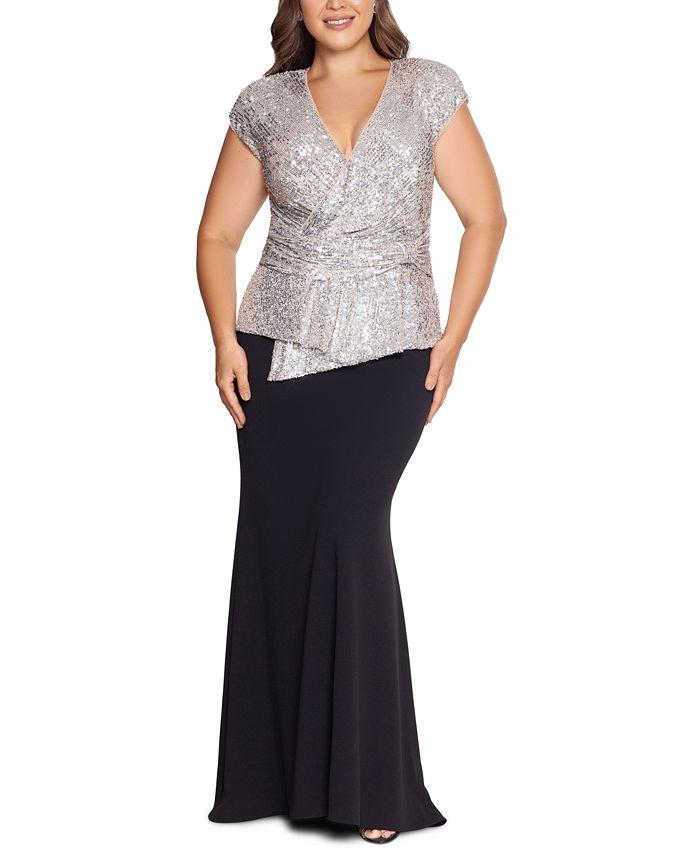XSCAPE - Plus Size Sequin-Top Scuba Crepe Gown