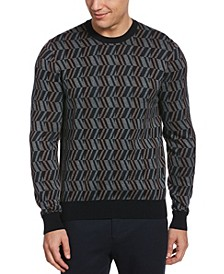 Men's Patterned Jacquard Long Sleeve Crew Neck Sweater