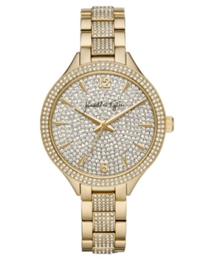 Women's Kendall + Kylie Gold Tone Crystal Embellished Stainless Steel Strap Analog Watch 40mm