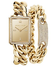 Women's Gold Tone Chunky Chain with Rectangle Face Stainless Steel Strap Analog Watch Matching Bracelet Set 40mm