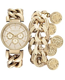 Women's Chunky Chain Gold Tone Stainless Steel Strap Analog Watch and Coin Bracelet Set 40mm