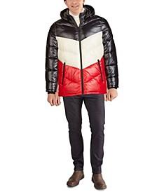 Men's Chevron Quilt High Shine Parka Jacket
