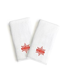 Textiles Embroidered Luxury Hand Towels - Merry Christmas Set of 2