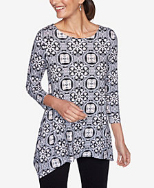 Ruby Rd. Plus Sizes Women's Geo Puff Print Top