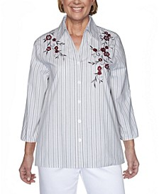 Women's Madison Avenue Embroidered Stripe Shirt