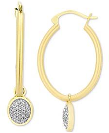 Diamond Pavé Jasmine Dangle Hoop Earrings (1/5 ct. t.w.) in 10k Gold