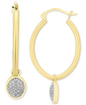 Diamond Pave Jasmine Dangle Hoop Earrings (1/5 ct. t.w.) in 10k Gold